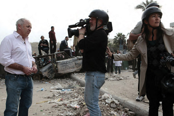 A mission in peril, journalist Jeremy Bowen recording a piece to camera