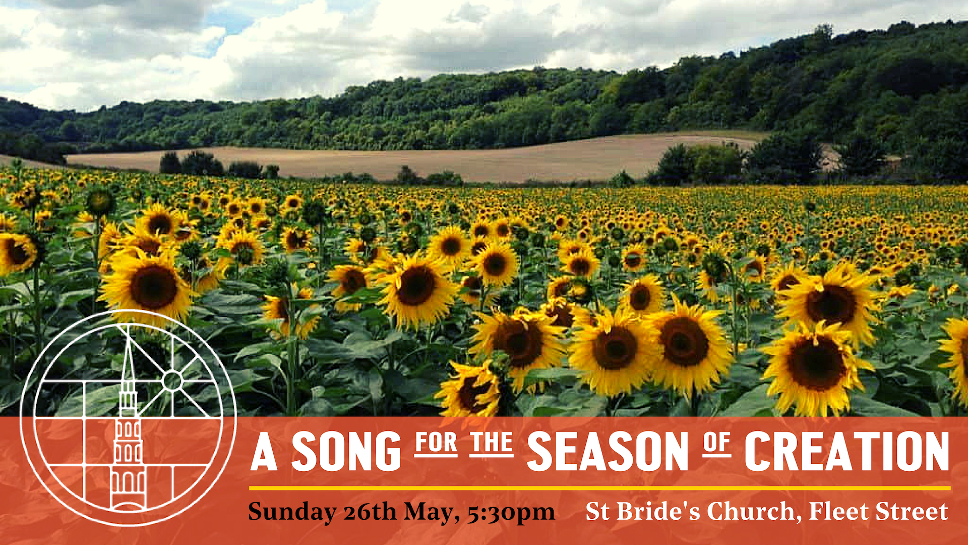 Advert for launch event showing field of sunflowers