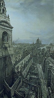 Bone Muirhead St Bride´s and the City after the Fire, 29 December 1940