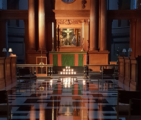 Space for Silence to think, be still or pray in St Bride's church every weekday