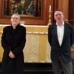 Christopher Betterton and Canon Alison Joyce exchange farewells on the St Bride's altar steps