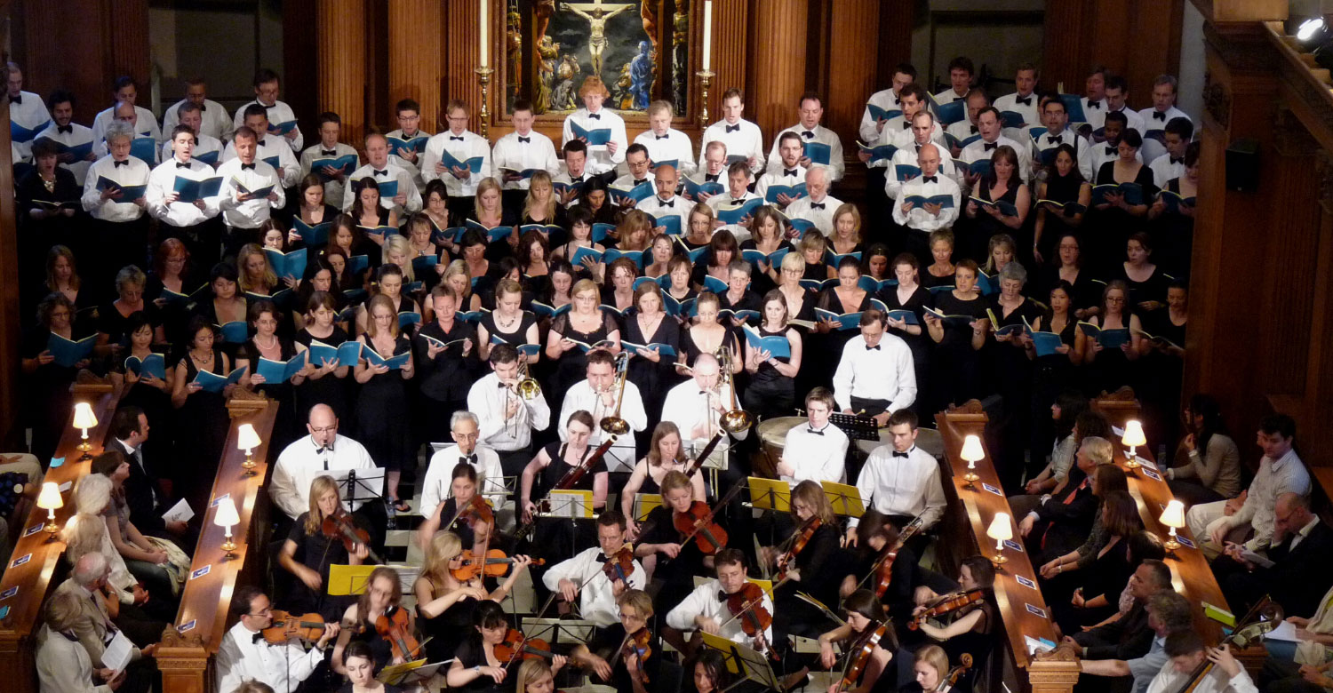 EC4 choir and orchestra during concert in packed St Bride's Church