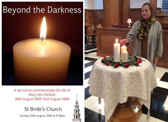 soprano Janis Kelly lights a candle to commemorate Polly Ann Nichols