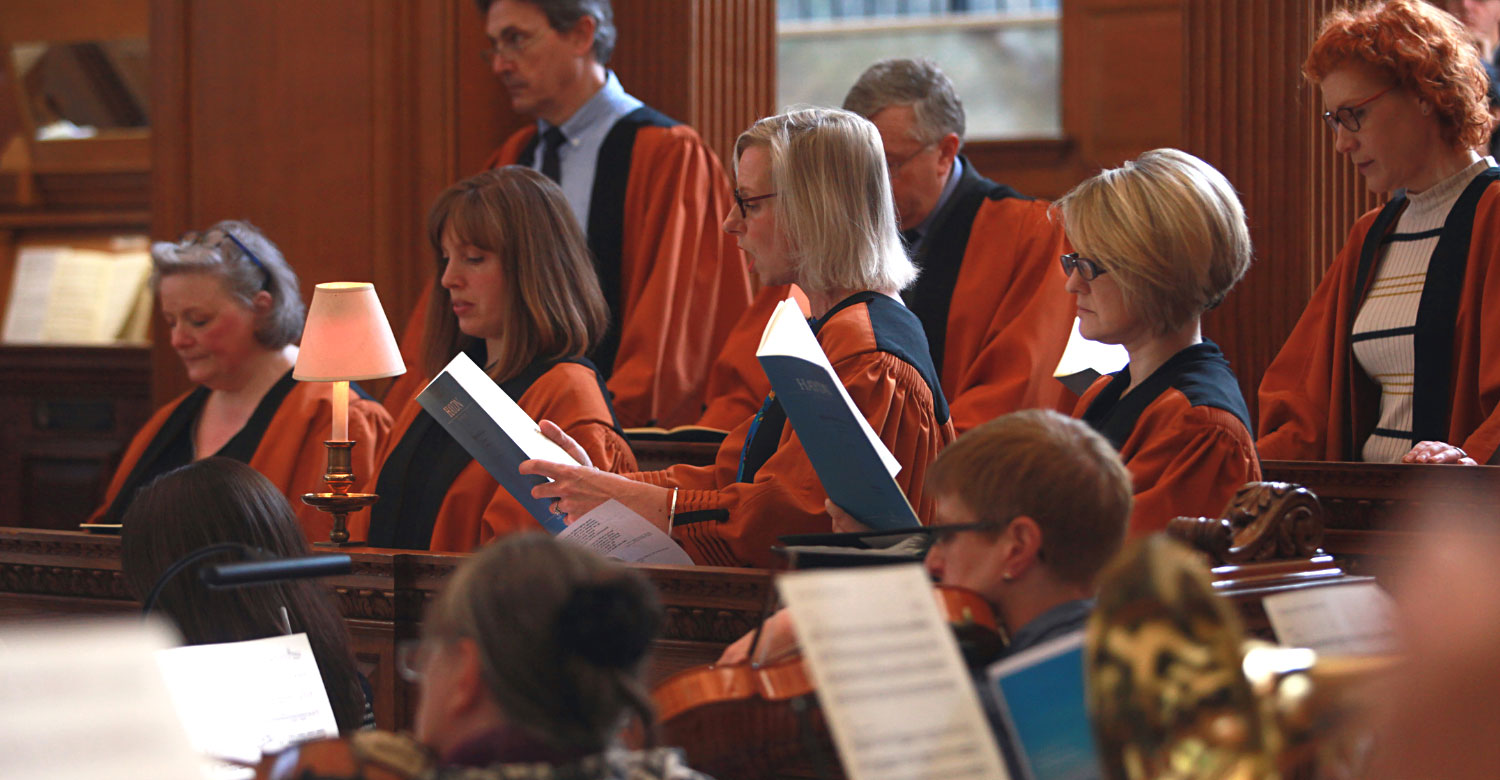 Soprano singers and orchestra performing at St Bride's Inspire service