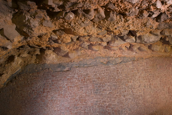 Roman pavement in crypt of St Brides by Peter Dazeley