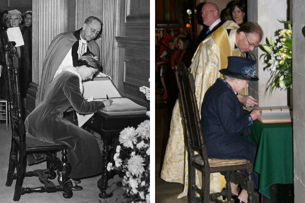 HM The Queen signing a visitors book at the rededication service in 1957 and at the 50th anniversary of that even in 2007