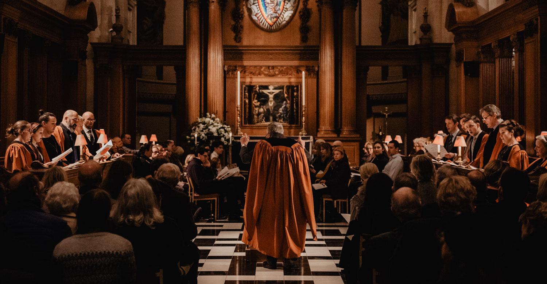 St Bride's Choir singing in full church for evening carol service