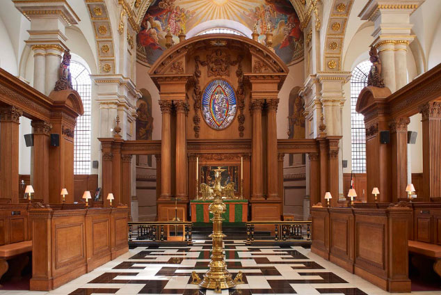 Interior of St Bride's looking at altar with eagle lectern in view