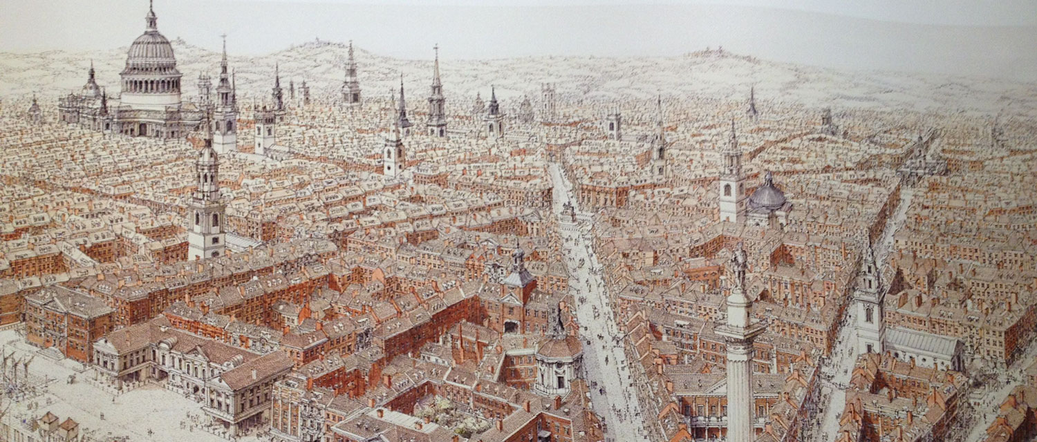 Realisation of Wren plan for City of London after the Great Fire