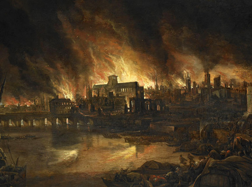 Painting of flames leaping from buildings in the Great Fire of London