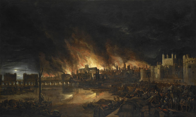 Painting: Great Fire of London, Flames rage above medieval St Paul's