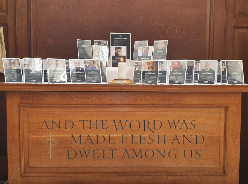 journalists altar at St Bride's with plaque commemorating journalists and crew