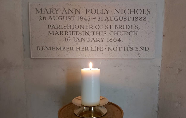 Carved memorial to Polly Nichols in St Bride's Church
