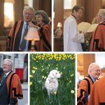 Peter Silver in Guild of St Bride gown, and as churchwarden and Bellini his dog