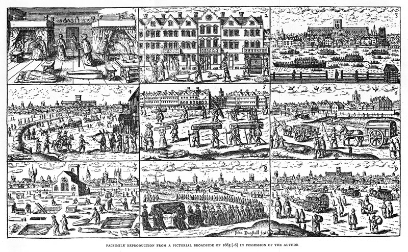 Pictorial telling of scenes from the story of Plague in London 1665-6 John Dunstall