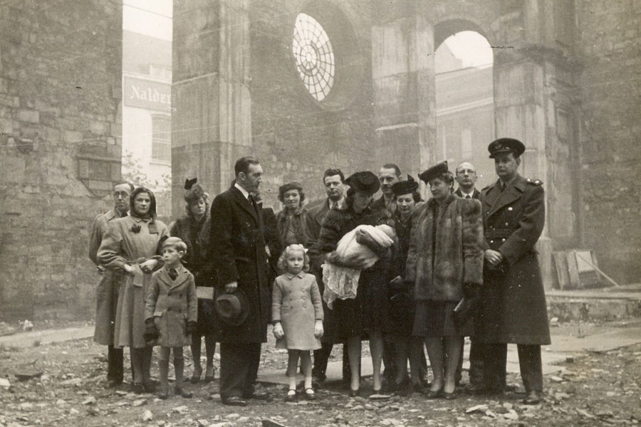 Christening of journalist Christopher Ward in bombed out shell of St Bride's