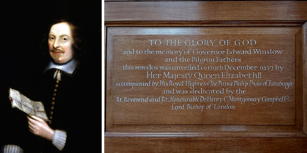 Edward Winslow and reredos commemoration plaque