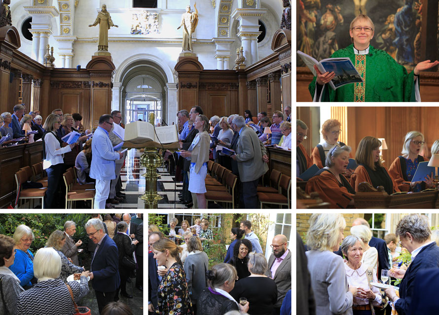 Montage of congregation, choir at the St Bride's Inspire Sunday service